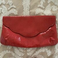 Vintage 1980's Faux Vegan Red Leather Snakeskin Clutch Bag Purse