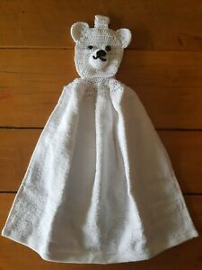 HAND TOWEL crocheted white polor bear, removable head. Animal tops.
