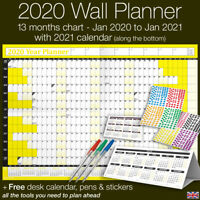 2020 Year Planner Wall Chart ✔Staff ✔Holidays+Stickers+Pens+Desk Calendar✔YELLOW
