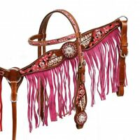 Western Horse Pink Bling! Bridle + Breast Collar Tack Set w/ Pink Leather Fringe