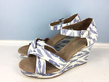 new TOMS Chambray blue White Wedge Heel Sandals 10 Sierra Ikat CUTE!