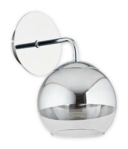 Modern Wall Light GLASS Shade Ball Chrome Mirror Dining Living Bedroom Led NEW