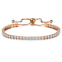 Womens Crystal 18K Gold Plated Blacelets Party Accessories Adjustable Friendship