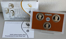 2016 Presidential $1 Coin Proof Set US Mint 3 Golden Dollars with COA and Box