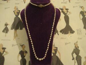 Beautiful Vintage Art Deco: Lustrous Genuine Pearls & Marcasites Clasp: Necklace