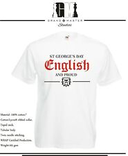 ST GEORGE'S DAY - ENGLISH & PROUD MENS & LADIES T-SHIRTS - SIZES S - XXL
