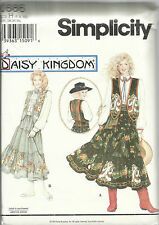 Daisy Kingdom Pattern-Misses Skirt-Sash-Blouse and Lined Vest-Sz 6-8-10