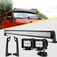 "52"" INCH LED Light Bar 4"" Pods Mounting Brackets For Jeep Wrangler JK 2007-2018"