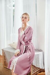 Luxurious Ladies Vintage Lace Silky Long Purple Dressing Gown Bath Robe ladpj234