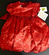 Nwt Bonnie Jean 2pc Dress 12 Months Red Floral Embroidery & Sequins w Bloomers