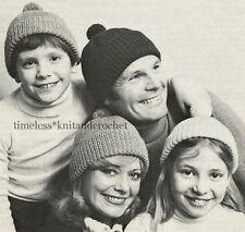 VINTAGE KNITTING PATTERN FOR FAMILY BOBBLE HATS / HAT  4 SIZES CHILDREN & ADULT