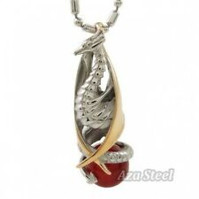 """Silver Gold Red Onyx Phoenix Stainless Steel Pendant with 21"""" Chain Necklace"""