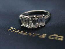 Tiffany & Co Platinum 3-Stone Emerald Cut Diamond Engagement Ring 2.53C E-VVS/VS