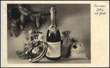 1936 Stempel Nauheim a/ AK Neujahr Sektflasche Hufeisen Postkarte