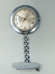 Vintage Timex Nurse Fob Wind Up Watch & Chain - Working