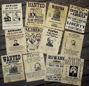 OK Corral Doc Holliday Jesse James Billy the Kid Old West Wanted Posters