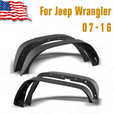 4x Fender Flares Flat Steel Front & Rear For 07-16 Jeep Wrangler JK 2/4 Doors