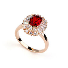 18K ROSE GOLD PLATED RUBY RED GENUINE AUSTRIAN CRYSTAL & CUBIC ZIRCONIA RING