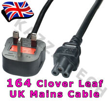 164 x Clover Leaf 3-Pin Power Cord Mains Cable Lead UK Plug!!! Laptop 5A FUSED