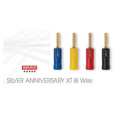 2 x 4m QED Silver Anniversary XT BI-WIRE Cables 4+4 AIRLOC ABS Plugs Terminated