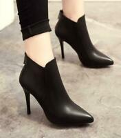 Women's Pointed Toe Ankle Boots Zip High Stilettos Heels party Shoes pumps