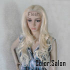 Hand-Tied Flesh Lace Front Synthetic Full Wigs Glueless Light Blonde 92#613 (F)