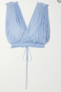 ELENA MAKRI 'Antigone' Cropped Draped Silk-tulle Top Retail $600 AU NEW W Tags