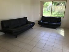 2 leather couches, 1x 2-seater, 1x 3 seater, black, stylish and comfortable
