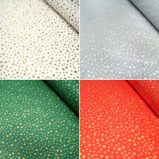 100% Cotton Fabric Lifestyle Christmas Festive Gold Stars Tossed 140cm Wide