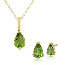 Gemondo 9ct Yellow Gold Peridot Claw Set Pear Stud Earring & 45cm Necklace Set