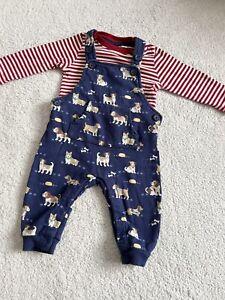 Jojo Maman Bebe Baby Boys Puppy Dog Dungaree Oufit 3-6 Months