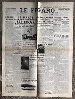 N113 La Une Du Journal Le Figaro 24 Août 1939