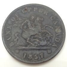 1857 Bank Of Upper Canada Circulated Canadian One Penny Token D522