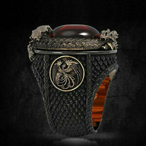 Men Gold Dragon Rings 925 Silver Fashion Ruby Hip Hop Punk Party Jewelry Gift