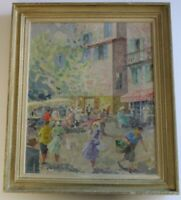 VINTAGE POST IMPRESSIONISM PAINTING NICE FRANCE FRENCH STREET SCENE MYSTERY ART