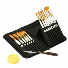 15 Pcs Pro Art Painting Brushes Set Acrylic Oil Watercolor Artist Paint Brush