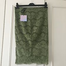 MISSGUIDED Corded Lace Midi Skirt Olive Green Ladies Women's Size 8 Eu 36 New