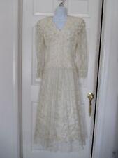 Jessica McClintock Bridal Lace Dress Size 9 / 10 Vintage Boho Peasant Wedding