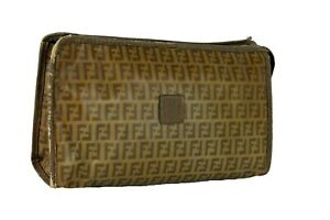 Auth FENDI FF Pattern PVC Leather Clutch Bag Cosmetic Pouch Hand Bag Italy Used