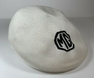 Vtg MG Men's Newsboy Hat Gatsby Cabbie Cap Morris Garage Car Auto White 7 1/4