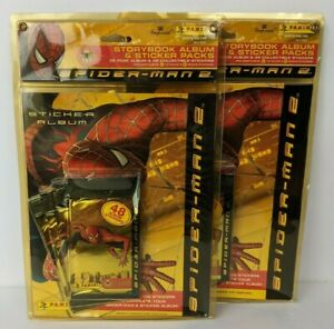 NOS Lot of 2 Sets Panini Spider-Man 2 Storybook Album & 48 Stickers 2004