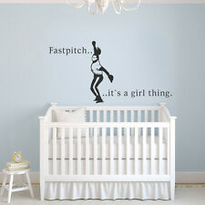 Girl Fastpitch Softball Wall Decal Inspiration Quote Sport Baby Room Vinyl Decor