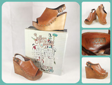 WOODIES JEFFREY CAMPBELL Snick Clog Slingback Wedge Heels UK 6 Tan Leather Shoes