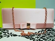 TED BAKER BOWINA Pink Satin Bow Detail Clutch Crossbody Evening Bag