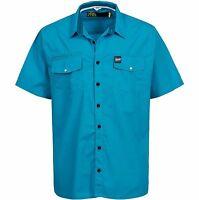 Henleys Men's Cheek Short Sleeved Regular Plus Size Shirt Blue Small