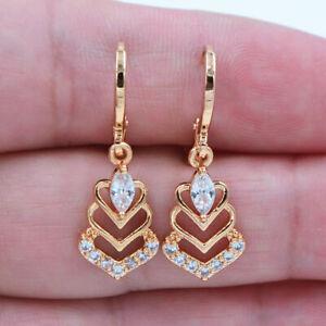 18K Yellow Gold Filled Clear Mystical Topaz Zircon Love Hearts Earrings j25