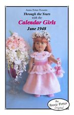 "Crochet doll dress pattern ""Calendar Girls 1948"" 18 inch doll pattern"