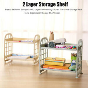 2 Layers Creative Plastic Storage Racks Organizer Shelf Rack Bathroom Kitchen