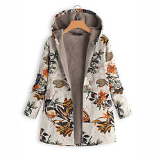 Women's Winter Long Floral Hooded Jacket Casual Plus Size Padded Top Ladies Coat