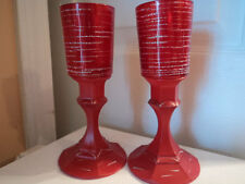 A set of hand made hand painted red and silver votive candle holders bud vases